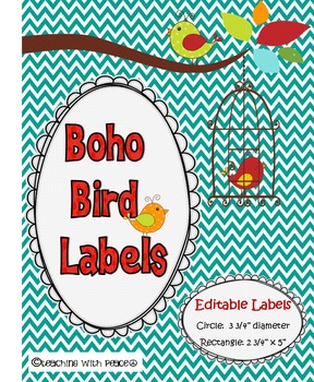 Boho Birds Theme  Labels *editable*