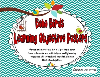 Boho Birds Theme Learning Objective Posters (includes blan