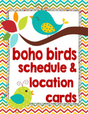 Boho Birds Theme Schedule and Location Cards **editable**