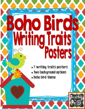 Boho Birds Theme Writing Traits Posters