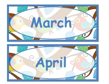 Boho Birds days of the week and months of the year