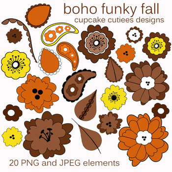 Boho Bohemian Fall Flowers Art  Autumn Digital Clip Art Elements