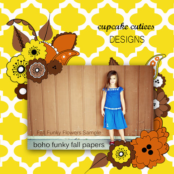 Boho Bohemian Fall Flowers Art  Autumn Digital Paper Pack