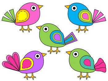 Boho Bright Birds Clip Art {By Busy Bee Clip Art}