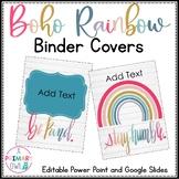 Boho Bright Rainbow Binder Covers Editable