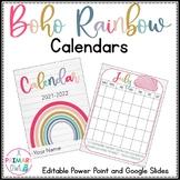 Boho Bright Rainbow Calendars Editable