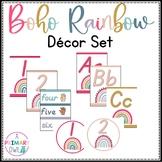 Boho Bright Rainbow Classroom Decor Set Editable