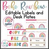 Boho Bright Rainbow Classroom Editable Labels and Desk Plates
