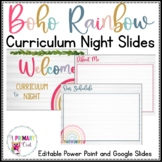 Boho Bright Rainbow Curriculum Night Back to School Editable