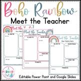 Boho Bright Rainbow Meet the Teacher Editable