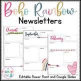 Boho Bright Rainbow Monthly Newsletters Editable
