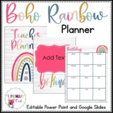 Boho Bright Rainbow Teacher Planner Editable