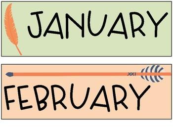 Boho Calendar Headings