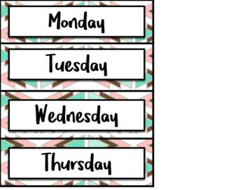 Boho Calendar and Days of the Week Chart