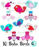 Boho Clip Art Birds: Pink, Red, Blue, Valentine, Vector Gr