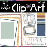 Boho Color Page Borders Clipart | Moveable Pieces