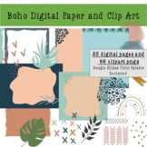 Boho Digital Paper - Rainbows and Monstera Clipart- Commercial Use