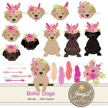 Boho Dog Digital papers, Tribal Pet Puppy Clipart, Animal Papers SET