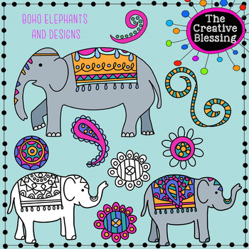 boho elephant clipart and doodles clip art by the creative blessing