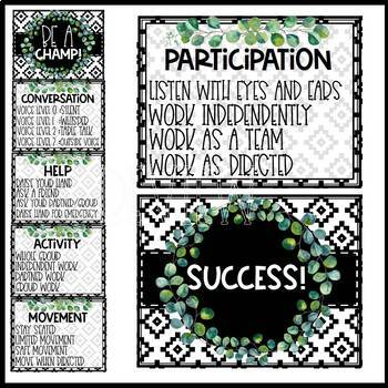 Boho Farmhouse Classroom Management: Behavior Chart, Hand Signals, and Champs