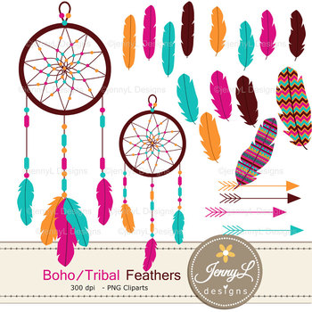 Boho Feather digital paper and clipart