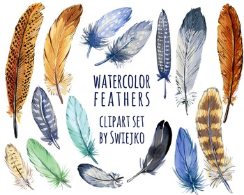 Boho Feathers, hand painted, watercolor