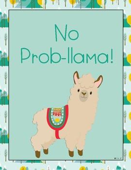 Boho Llama Motivational Posters Set