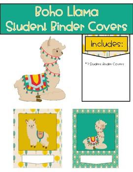 Boho Llama Student Binder Covers