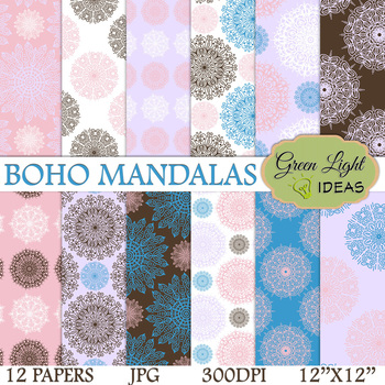 Boho Mandalas Digital Papers / Boho Backgrounds
