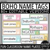 Boho Name Plates/ Name Tags | EDITABLE | Desk Labels | 80+ Versions!