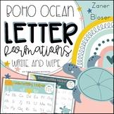 Boho Ocean Classroom Decor | Letter formations Zaner Bloser