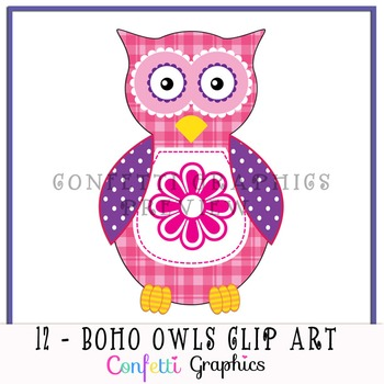 Boho Owl Clip Art Set 12 Different Pattern Owls High Quality PNG Bright Images
