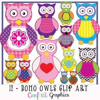 Boho Owl Clip Art Set 12 Different Pattern Owls High Quali
