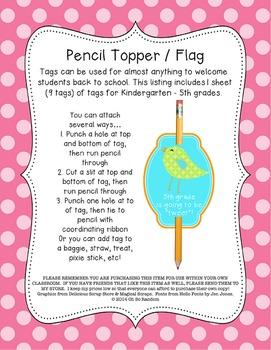 Boho Pencil Topper / Flag FREEBIE