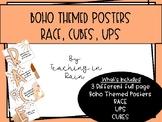 Boho RACE, CUBES, UPS Posters