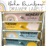 Boho Rainbow ROLLING CART LABELS | EDITABLE