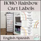 Boho Rainbow 10 Drawer Cart Labels English Spanish