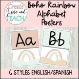 Boho Rainbow Alphabet Posters English Spanish