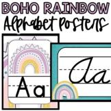 Boho Rainbow Alphabet Posters, Print Alphabet, Cursive Alp
