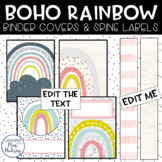 Boho Rainbow Binder Covers and Spine Labels