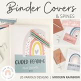 Boho Rainbow Binder Covers and Spines | Editable Modern Ra