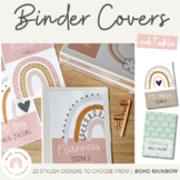 Modern BOHO RAINBOW Binder Covers and Spines | Neutral Tones