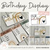 Modern BOHO RAINBOW Birthday Chart   Editable Neutral Rainbow Classroom Decor