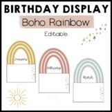 Boho Rainbow Birthday Display Editable