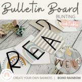 Modern BOHO RAINBOW Bulletin Board Signage | Editable Neut