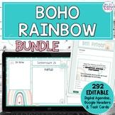 Boho Rainbow Bundle } Editable Google Headers and Digital Agendas