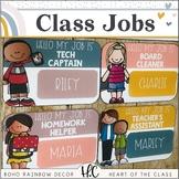 Boho Rainbow CLASSROOM JOBS | EDITABLE