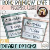 Boho Rainbow Café Sterilite Drawer Labels   EDITABLE