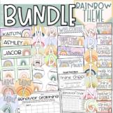 Boho Rainbow Class Decor Bundle (Behavior Chart, Name Plates, Labels, Signs)