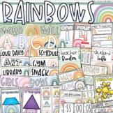 Boho Rainbow Class Decor Bundle (Posters, Binder Covers, Schedule, Calendar)